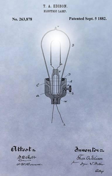 Wall Art - Digital Art - Thomas Edison Electric Lamp Patent by Dan Sproul