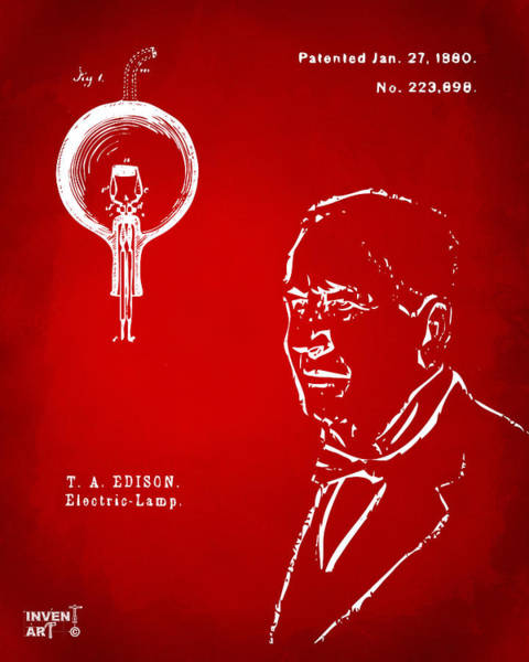 Wall Art - Digital Art - Thomas Edison Lightbulb Patent Artwork Red by Nikki Marie Smith
