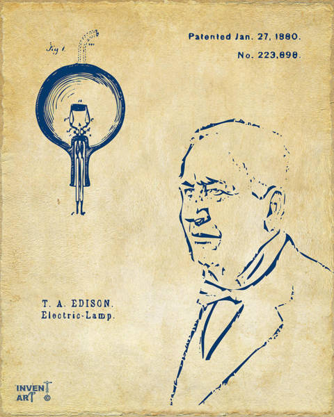 Wall Art - Digital Art - Thomas Edison Lightbulb Patent Artwork Vintage by Nikki Marie Smith