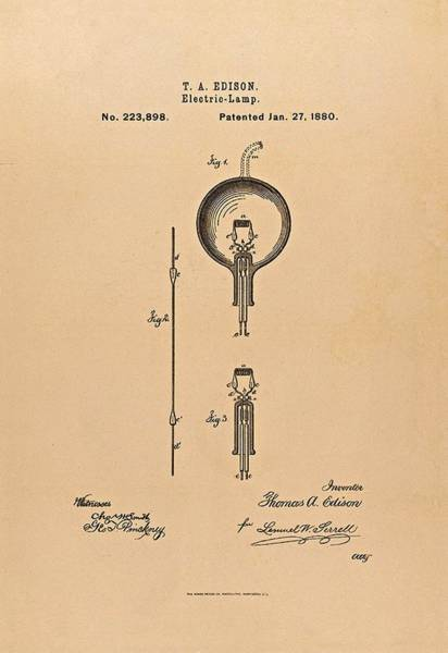 Photograph - Thomas Edison Patent Application For The Light Bulb by Movie Poster Prints
