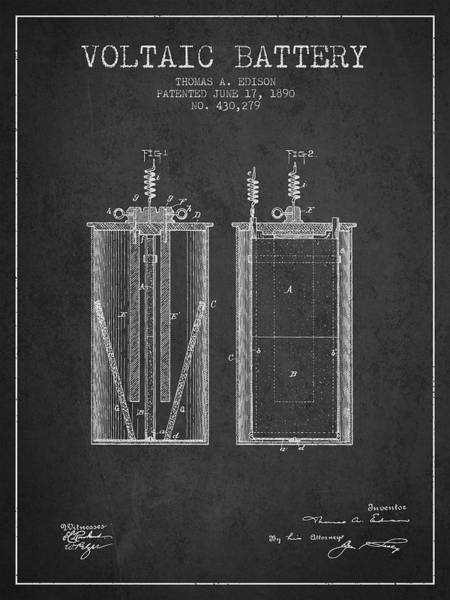 Electricity Digital Art - Thomas Edison Voltaic Battery Patent From 1890 - Charcoal by Aged Pixel