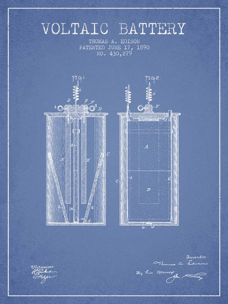 Electricity Digital Art - Thomas Edison Voltaic Battery Patent From 1890 - Light Blue by Aged Pixel