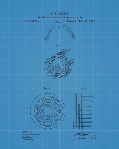 Generator Mixed Media - Thomas Edison's Dynamo Magneto Electric Machine Blueprint Patent by Dan Sproul