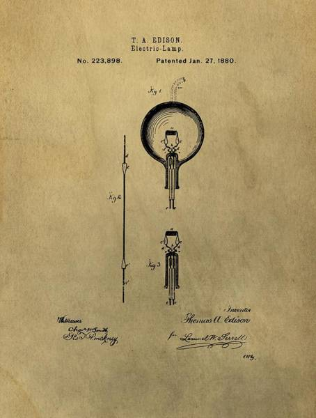 Bulb Drawing - Thomas Edison's Electric Lamp Patent Illustration by Dan Sproul