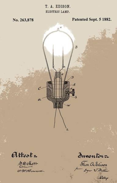 Wall Art - Digital Art - Thomas Edison's Electric Lamp by Dan Sproul