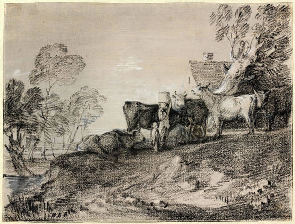 Prepare Drawing - Thomas Gainsborough, Landscape With Cattle By A Cottage by Litz Collection