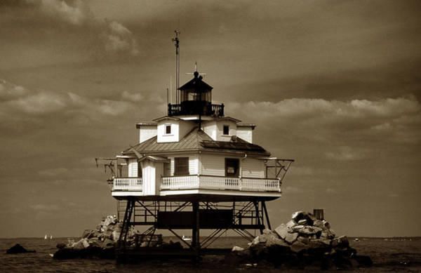 Screw Pile Wall Art - Photograph - Thomas Point Shoal Lighthouse Sepia by Skip Willits