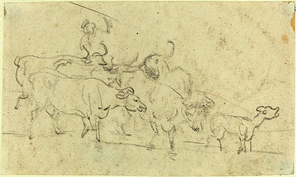 Wall Art - Drawing - Thomas Rowlandson, British 1756-1827, Cattle by Litz Collection