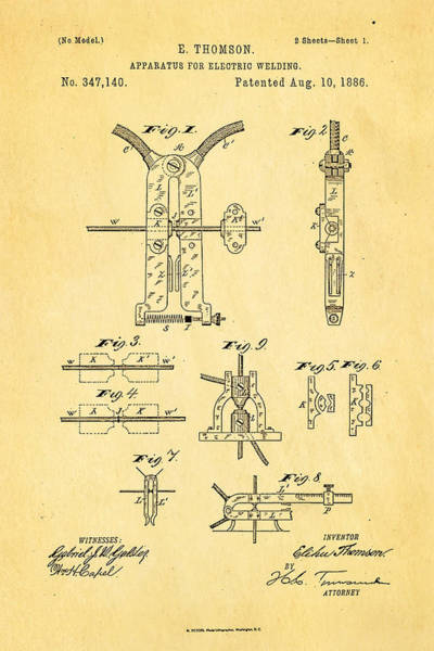 Fitter Photograph - Thomson Electric Welding Patent Art 1886 by Ian Monk