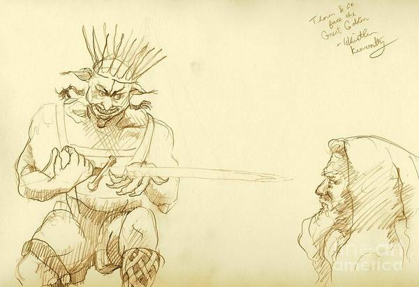 Sorcery Drawing - Thorin Faces The Great Goblin by Whistler Kenworthy