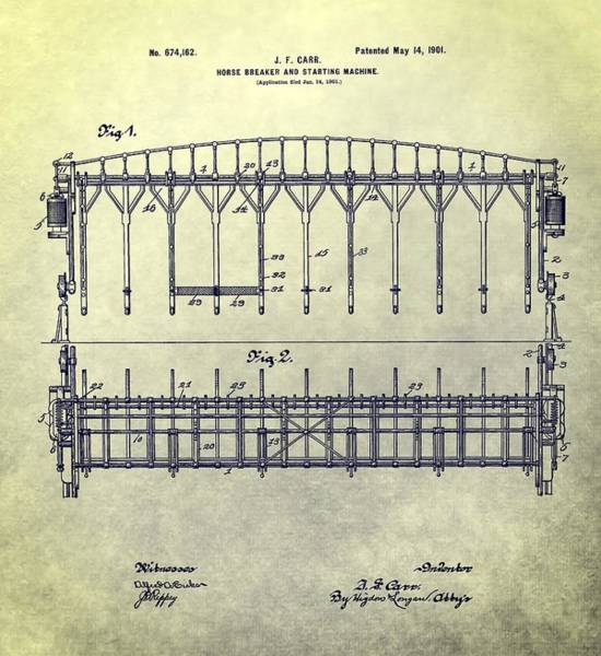 Patent Mixed Media - Thoroughbred Race Starting Gate Patent by Dan Sproul