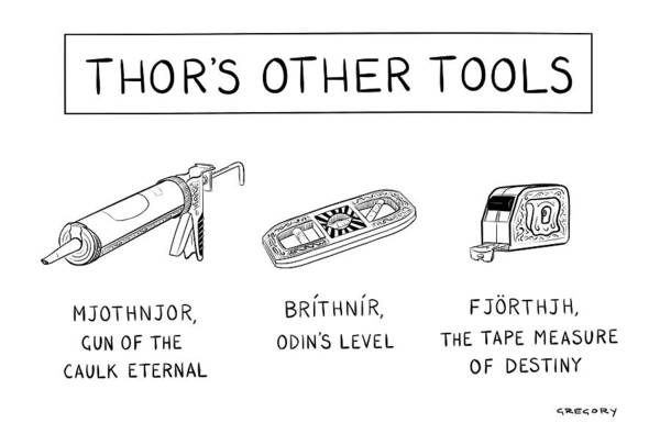 Superhero Drawing - Thor's Other Tools -- Various Carpentry Tools by Alex Gregory