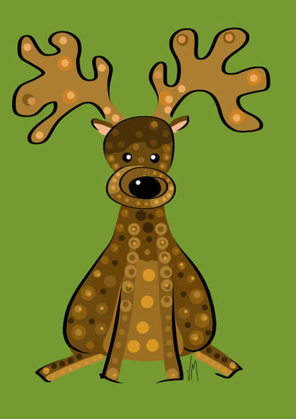 Thought Digital Art - Thoughts And Colors Series Reindeer by Veronica Minozzi