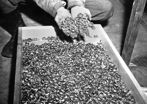 Concentration Camp Photograph - Thousands Of Gold Wedding Rings Removed by Everett