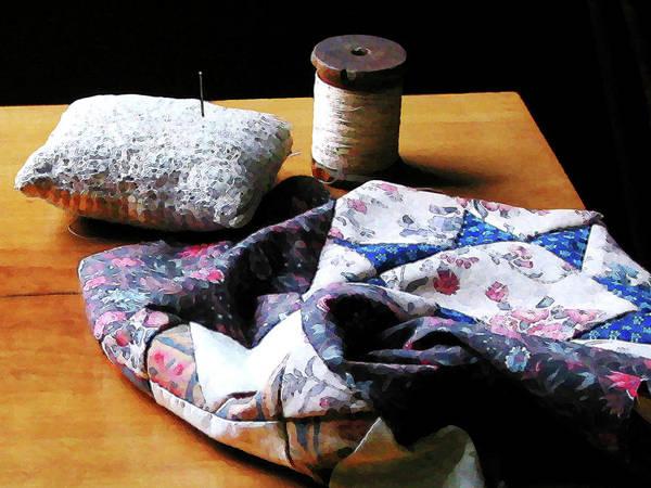Photograph - Thread Pincushion And Cloth by Susan Savad