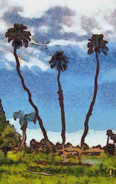 Digital Art - Three Abstract Palm Trees  by Barbara Snyder
