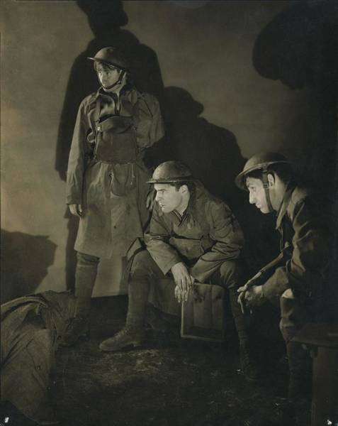 Helmet Photograph - Three Actors In The Play 'what Price Glory' by Edward Steichen
