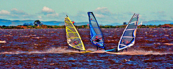 Digital Art - Three Amigo Windsurfers by Joseph Coulombe