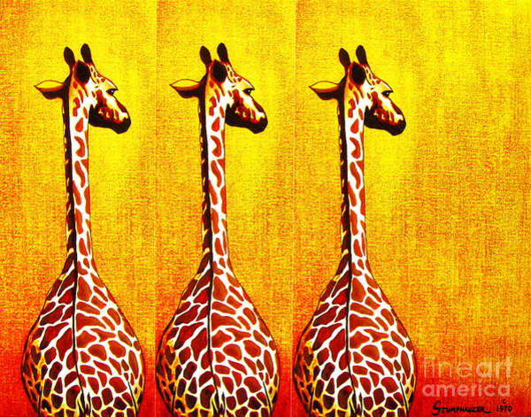 Wall Art - Painting - Three Amigos Giraffes Looking Back by Jerome Stumphauzer