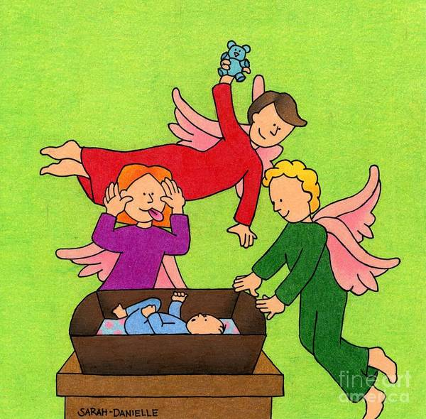 Sweet Drawing - Three Angels And A Baby by Sarah Batalka