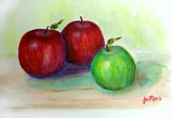 Painting - Three Apples by Janet Garcia