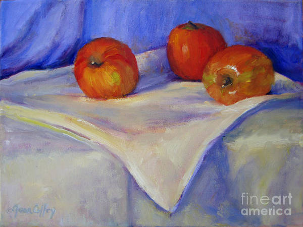 Painting - Three Apples With Blue And White by Joan Coffey