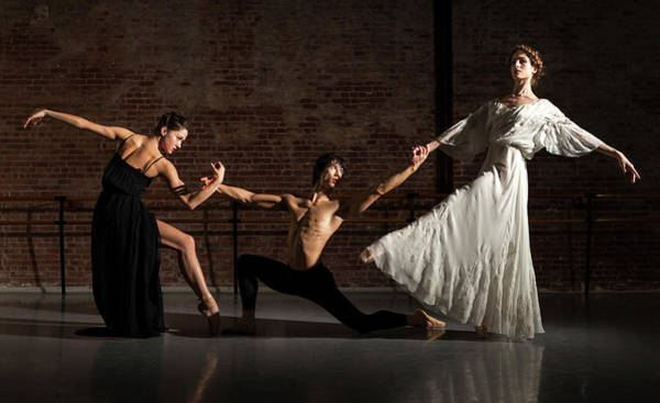 Candid Photograph - Three Ballet Dancers Performing Together by Nisian Hughes
