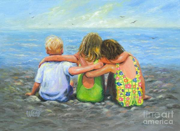 Three Sisters Wall Art - Painting - Three Beach Children Hugging by Vickie Wade