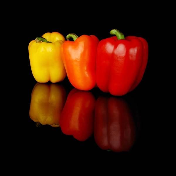 Bell Photograph - Three Bell Peppers by Jim Hughes