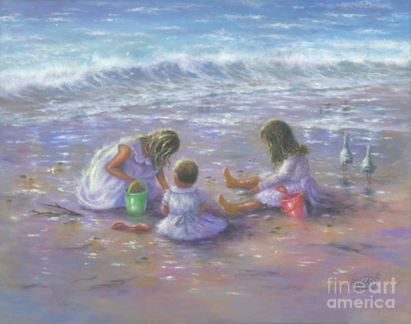 Wall Art - Painting - Three Blonde Beach Girls by Vickie Wade