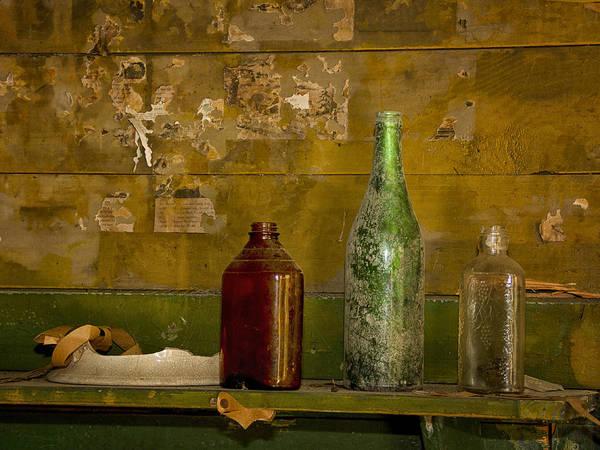 Sandra Anderson Wall Art - Photograph - Three Bottles On A Mantel by Sandra Anderson