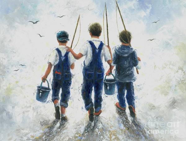 Wall Art - Painting - Three Boys Going Fishing by Vickie Wade