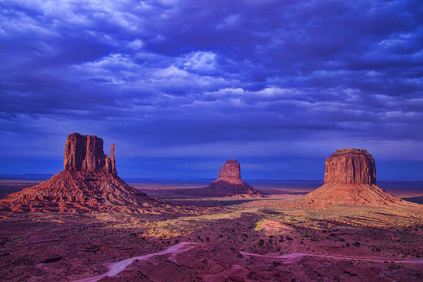 Navajo Indian Reservation Photograph - Three Buttes by Garry Gay