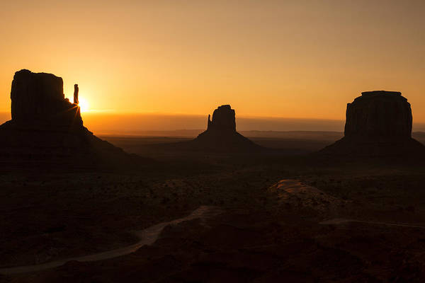 Monument Valley Navajo Tribal Park Wall Art - Photograph - Three Buttes Sunrise by Garry Gay
