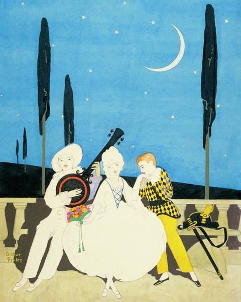 Night Digital Art - Three Characters Wears Pierrot by Arthur Finley