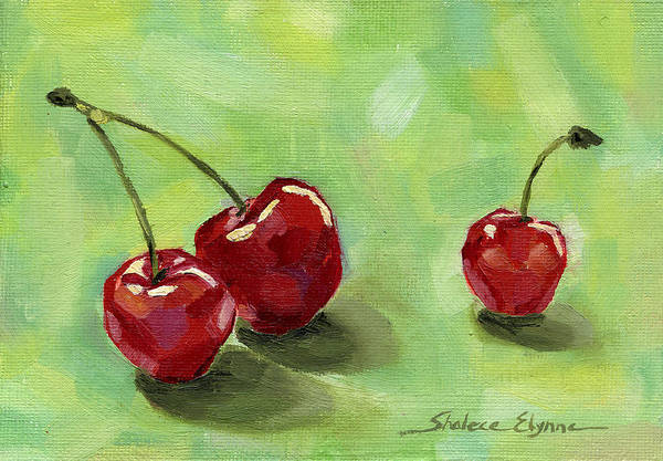 Painting - Three Cherries by Shalece Elynne