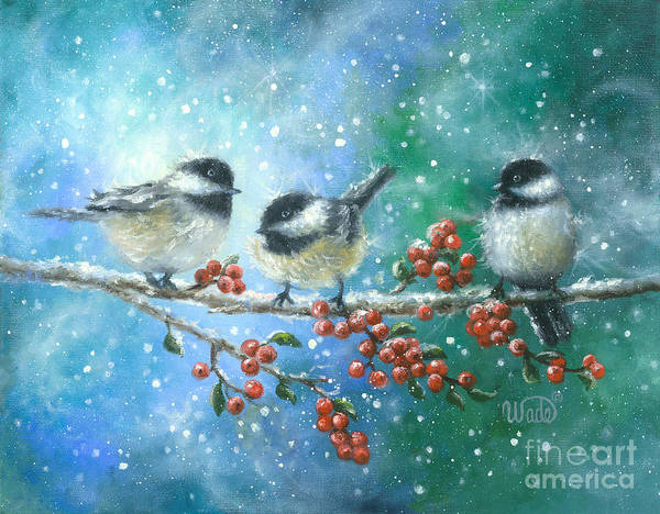 Wall Art - Painting - Three Chickadees by Vickie Wade