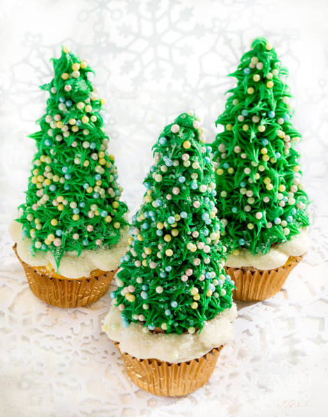 Wall Art - Photograph - Three Christmastree Cupcakes  by Iris Richardson