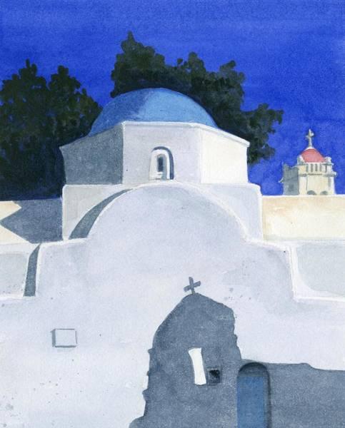 Greece Painting - Three Churches On Mykonos by Marsha Elliott