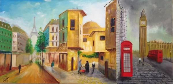 Baghdad Painting - Three Cities by Rami Besancon
