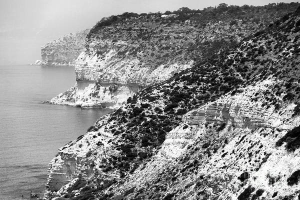 Wall Art - Photograph - Three Cliffs In Cyprus - Black And White by John Rizzuto