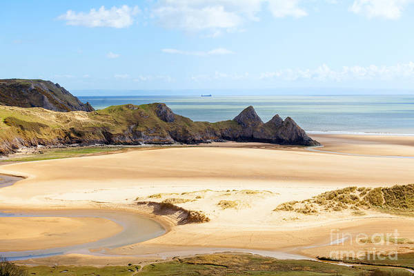 Photograph - Three Cliffs In The Gower by Paul Cowan