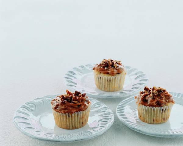 Cranberry Photograph - Three Cranberry Cupcakes by Romulo Yanes