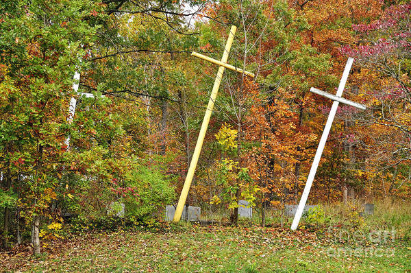 Wall Art - Photograph - Three Crosses And Cemetery by Thomas R Fletcher