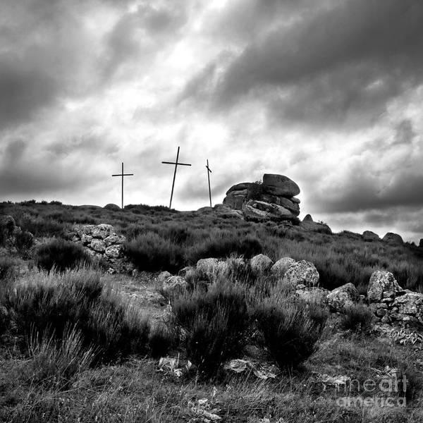 Black Cap Photograph - Three Crosses by Bernard Jaubert