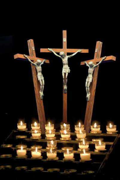 Wall Art - Photograph - Three Crosses Depicting Crucifix by John Short