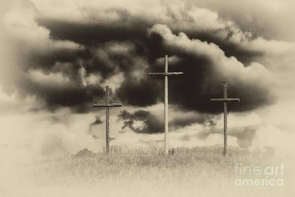 Wall Art - Photograph - Three Crosses Sepia by Thomas R Fletcher