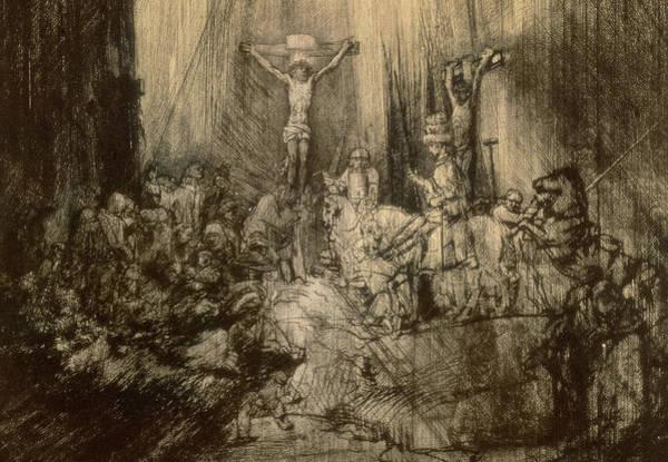 Gospel Drawing - Three Crucifixes by Rembrandt Harmenszoon van Rijn