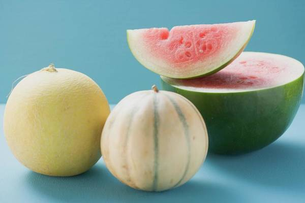 Watermellon Wall Art - Photograph - Three Different Melons by Foodcollection