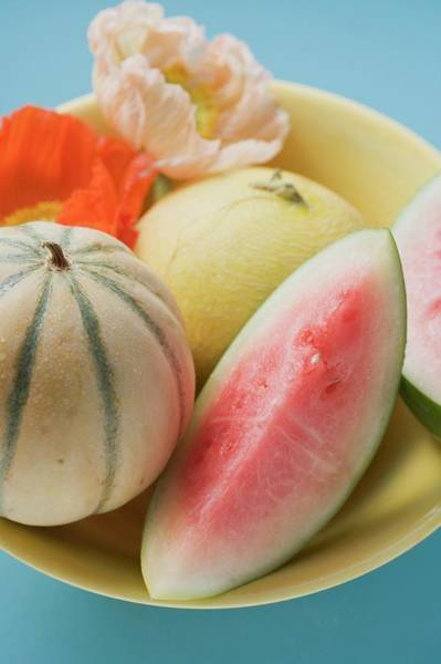 Watermellon Wall Art - Photograph - Three Different Melons In Bowl (detail) by Foodcollection